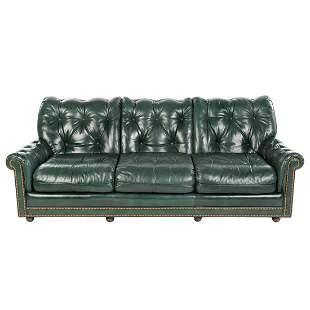 Hancock & Moore Green Leather Sofa