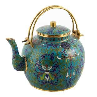 Chinese Cloisonne Enamel Teapot