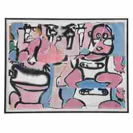 """Grace Hartigan. """"Toilet Set,"""" watercolor collage"""