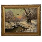 Laszlo Neogrady. Snowy Landscape, oil on canvas