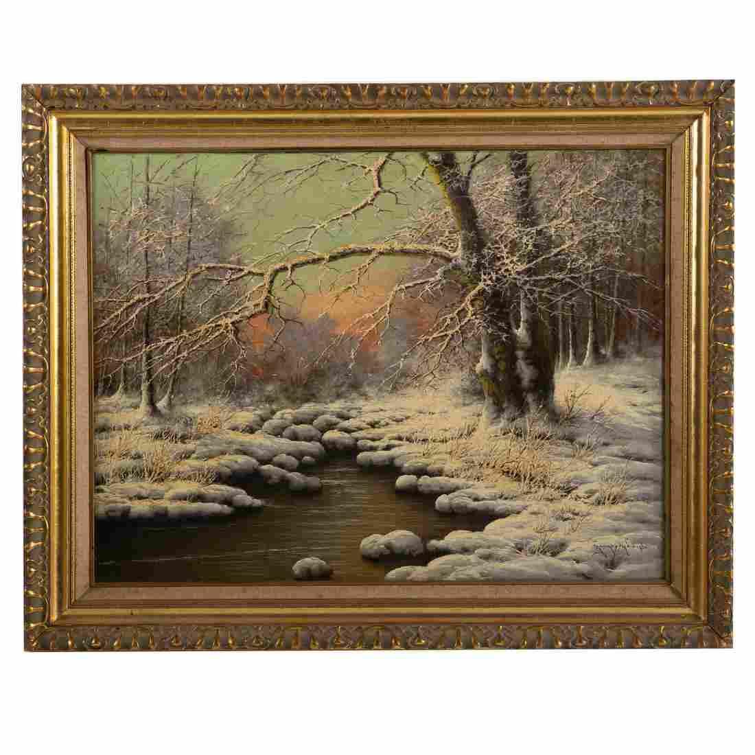 Laszlo Neogrady. Snowy Landscape, oil on canvas