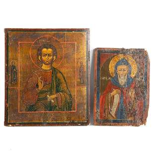 Two 19th c. Icons: One Greek and One Russian
