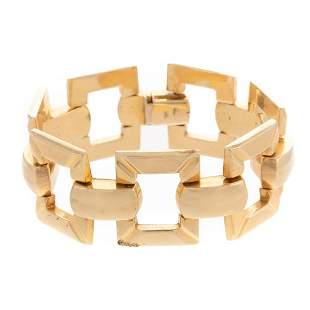 A Bold Open Square Link Bracelet in 14K