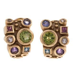 A Pair of Diamond & Multi Gemstone Earrings in 14K