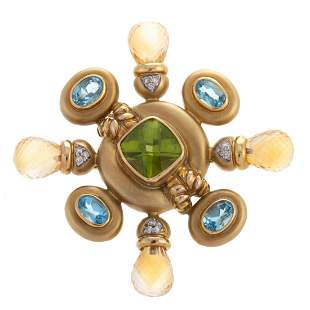 A Colorful Topaz & Peridot Pin/Pendant in 14K