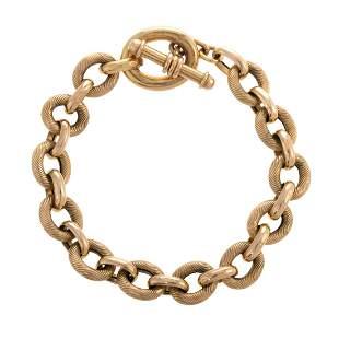 An Italian Textured Link Bracelet in 14K