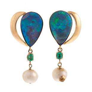 A Pair of Opal, Emerald & Pearl Earrings in 14K