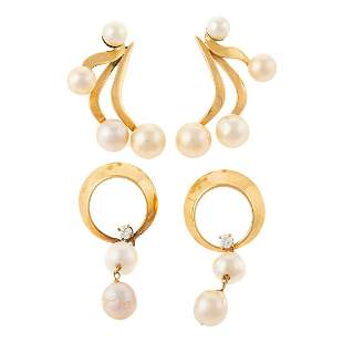 Two Pairs of Vintage Pearl Dangle Earrings in 14K