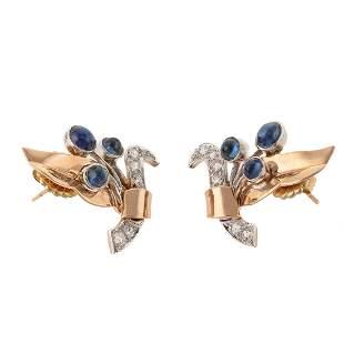 A Pair of Retro Sapphire & Diamond Earrings in 14K