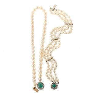 An Emerald, Diamond & Pearl Necklace & Bracelet