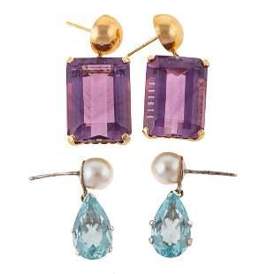 Two Pairs of Gemstone Earrings in 14K