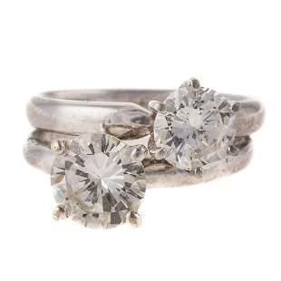 A 2.90 ctw Platinum Double Diamond Ring