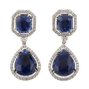 A Pair of 12.24 ct Unheated Burmese Sapphire Earrings