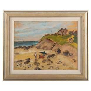 """Edward Rosenfeld. """"Beach,"""" oil on panel"""