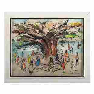 "Edward Rosenfeld. ""People and Tree,"" oil"