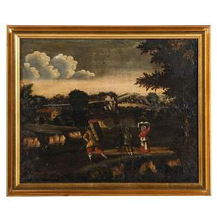Dutch School, 18th c. Landscape with Figures, oil