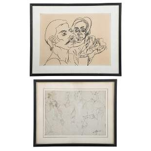 Raoul Middleman. Two Framed Drawings