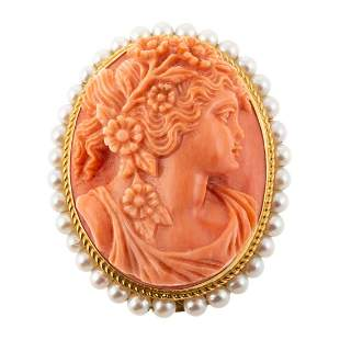 A Vintage Carved Coral Pin/Pendant in 14K