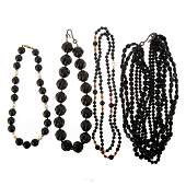 A Collection of Black Onyx Beaded Necklaces