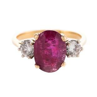 An 18K Unheated Burmese 4.04ct Ruby & Diamond Ring