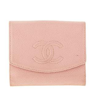A Chanel Small Bifold Flap Wallet in Pink