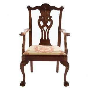 George III Chippendale Style Mahogany Arm Chair