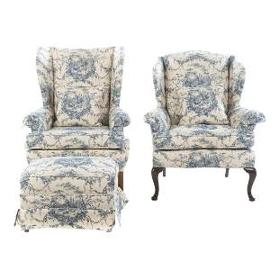 Two Chippendale Style Upholstered Chairs & Ottoman