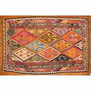 Antique Qashqai Kilim Rug, Persia, 5.3 x 8