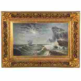 M. de Roi. Ship Loundering Along a Rocky Coastline