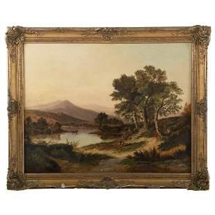 British School, 19th c. Landscape w/ Figures, oil