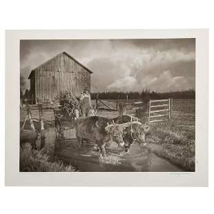 "A. Aubrey Bodine. ""Farmer Driving Oxen"""