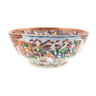 Chinese Export Mandarin Palette Punch Bowl