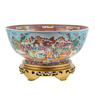 Large Mandarin Palette Turquoise Punch Bowl