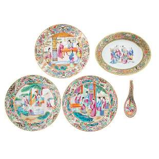 Five Pieces Chinese Export Rose Mandarin Porcelain