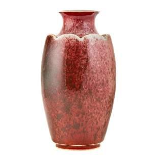 Chinese Sang de Boeuf Lotus Vase