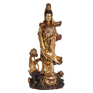Large Chinese Carved & Gilded Wood Quan yin