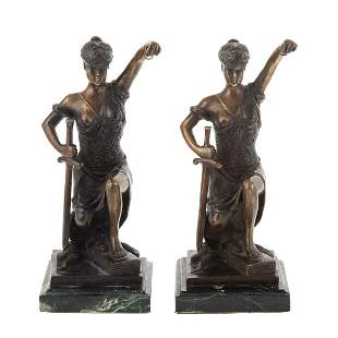 A Pair of Justice Bronze Bookends