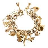 A 9K Gold Full Charm Bracelet with Heart Padlock
