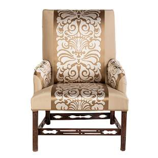 George III Chinese Chippendale Upholstered Chair