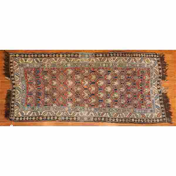 Antique Soumak Rug, Caucasus, 3.5 x 7.3