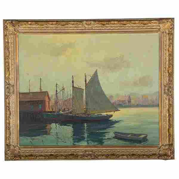 """Cappy"" Hjalmar Amundsen. Boats in the Harbor, oil"