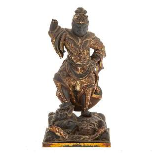 Chinese Carved Wood Buddhist Guardian