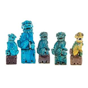 Five Chinese Export Porcelain Foo Dogs