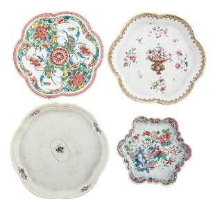 Four Chinese Export Porcelain Teapot Stands