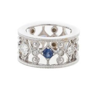A Wide Sapphire & Diamond Filigree Band