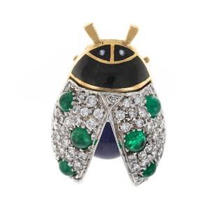 A Diamond, Emerald & Enamel Ladybug Pin in 18K