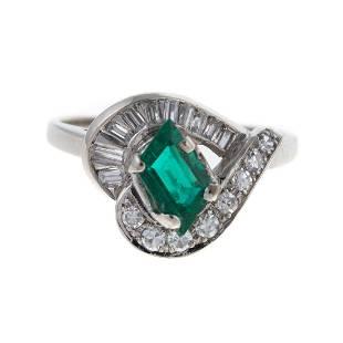 A Fine Emerald & Diamond Ring in 14K