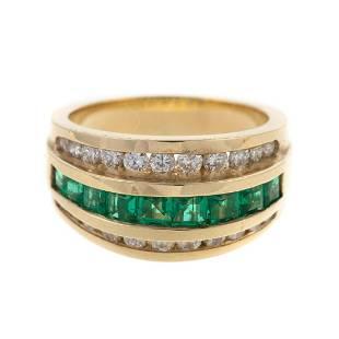 A Wide Fine Emerald & Diamond Band in 14K