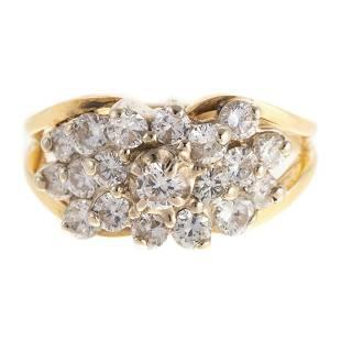 A 14K Diamond Cluster Ring