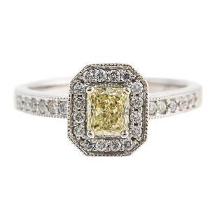 A 14K Fancy Light Yellow Diamond Ring
